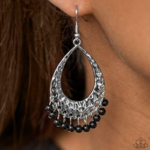 """Casually Cancun"" - Silver & Black Earrings"